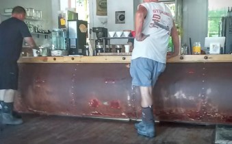 Boots in the coffee shop