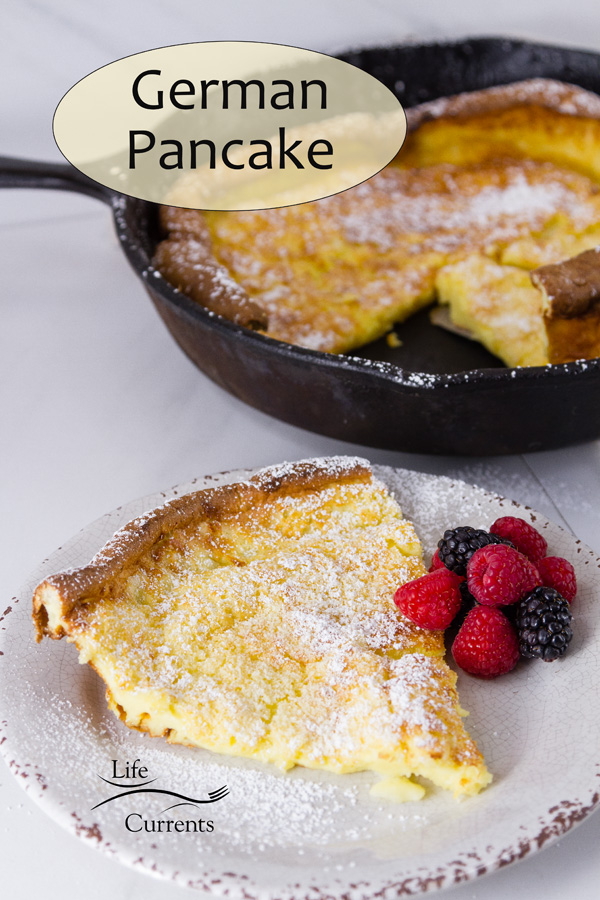 German Pancake: slice on a plate with the breakfast in the pan in the background; title on image