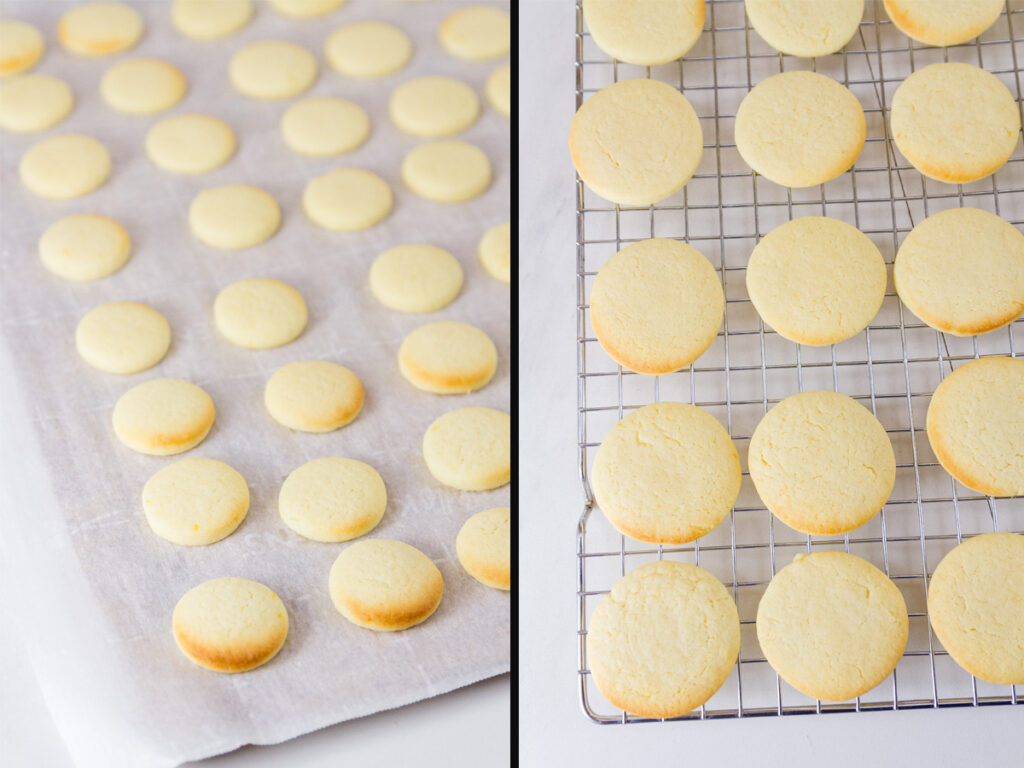 baked lemon cookies on a rack