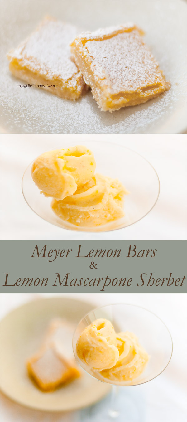 Meyer Lemon Mascarpone Sherbet and Lemon Bars