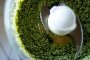 Pesto with olive oil