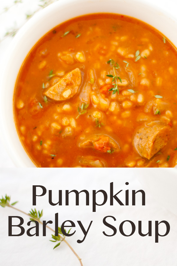 Pumpkin Barley Soup a great healthy weeknight budget-friendly soup