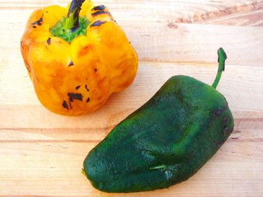 The skins have been removed from the peppers, and they're ready to be sliced or chopped Cooking Basics – Roast a Chili Pepper