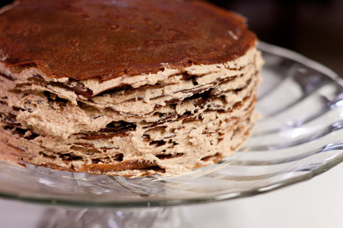 """Darkest Chocolate Crepe Cake or """"what have I gotten my husband into?"""" filled crepes"""
