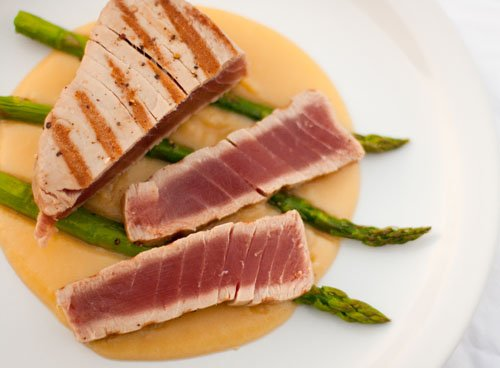 Seared Albacore Tuna served over Roasted Asparagus and Potato Puree