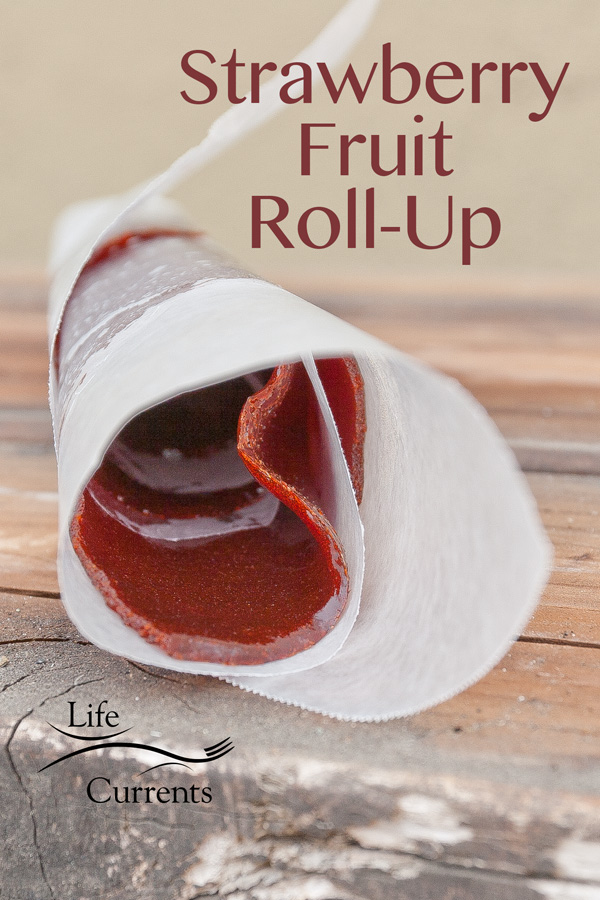 Strawberry Fruit Roll-Up fruit leather fruit smash strawberries homemade in the oven