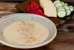 Roasted Red Pepper Hummus Sandwich with Caramelized Onions featured post for Classic Hummus