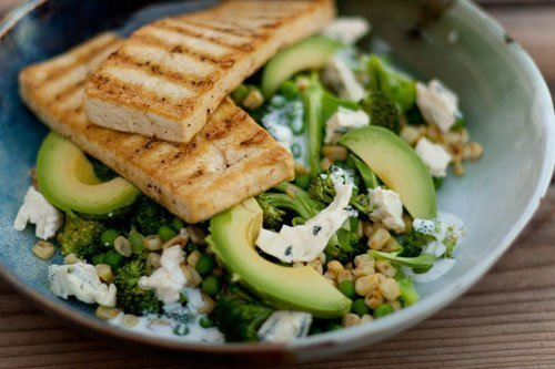 Spiced Tofu with Broccoli and Blue Cheese Salad