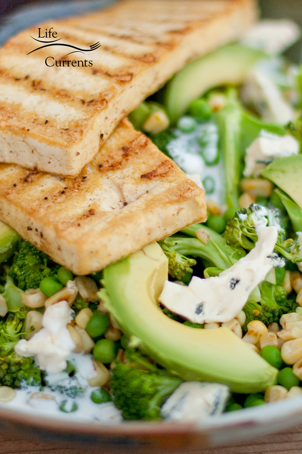 Spiced Tofu with Broccoli and Blue Cheese Salad close up shot