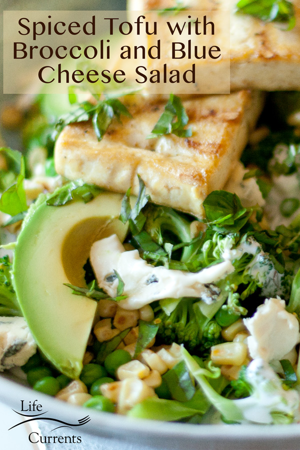 Spiced Tofu with Broccoli and Blue Cheese Salad with a title