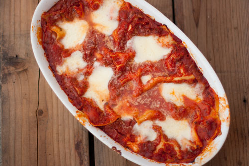 vegetarian lasagna with red peppers and fresh mozzarella https://lifecurrentsblog.com