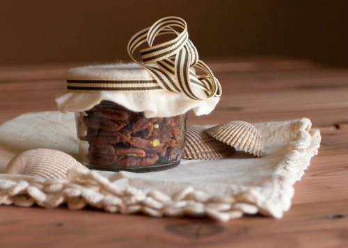 Crisp pecans, not as sugary as sugared nuts. These are really crisp and great for snacking. pecans as homemade gifts