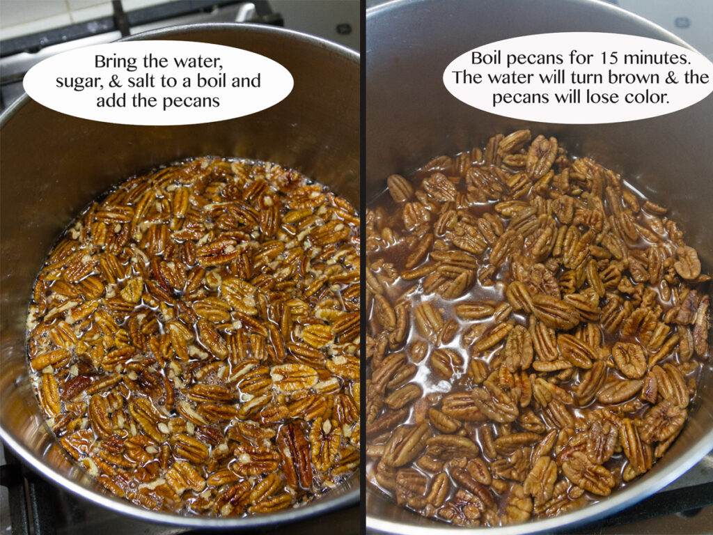 process shots for how to make these crispy pecans: boiling them