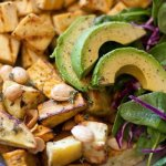tofu, sweet potatoes, Marcona almonds, avocado, spinach