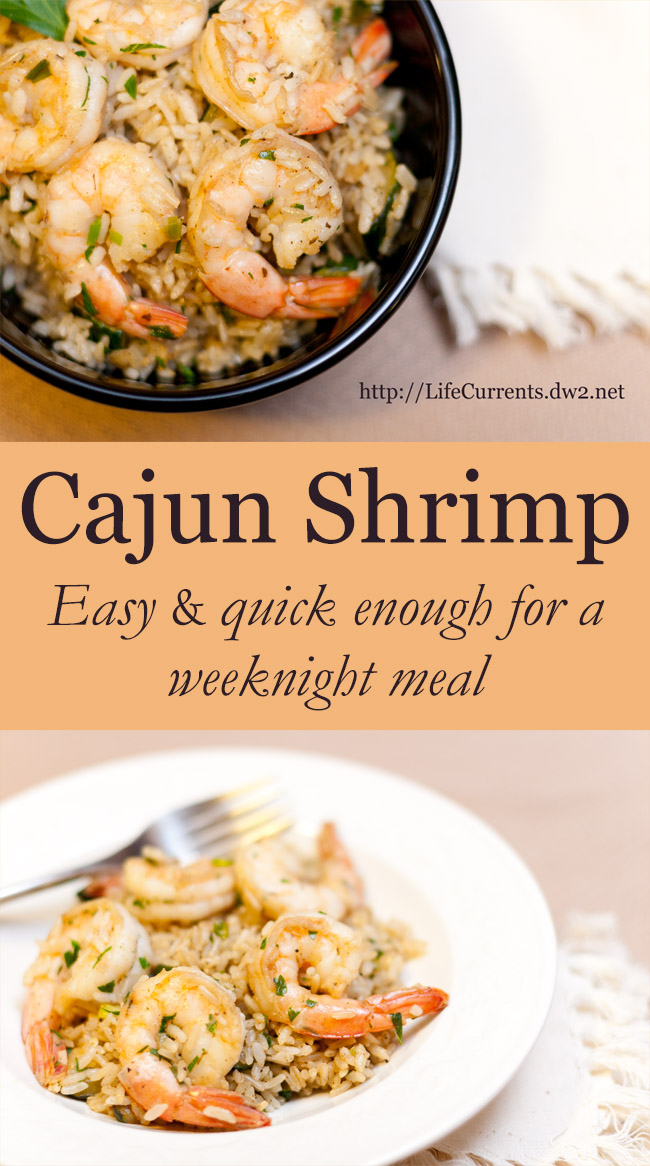 This Cajun Shrimp is a great weeknight meal. It comes together quickly, is really tasty, and is nice and healthy.