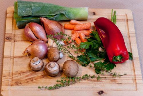 Vegetarian Roasted Vegetable Broth veggies for broth