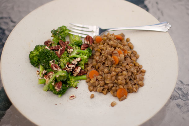 lentils with broccoli miso salad