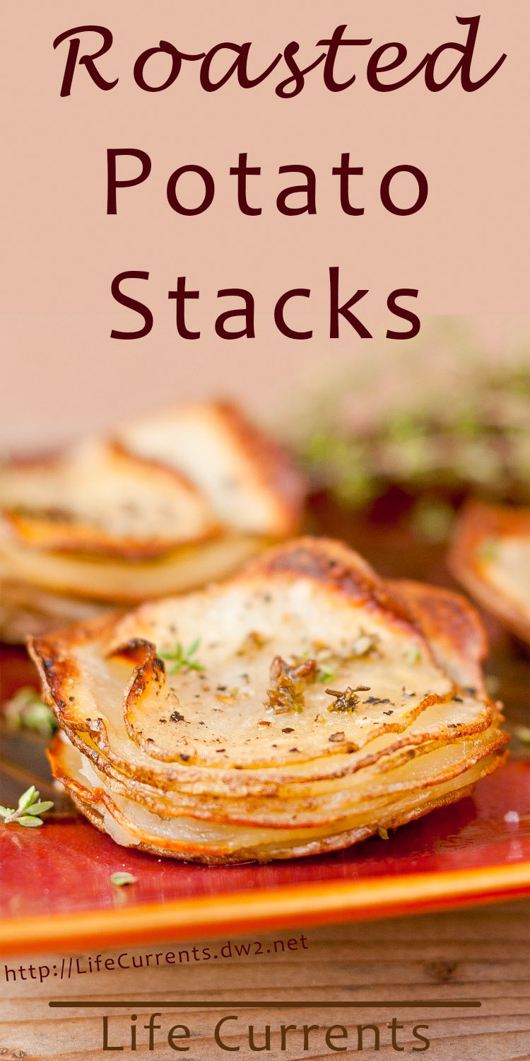 These roasted potato stacks are impressive looking and super tasty. They get crispy little edges and a soft, almost creamy center. They're pretty easy to make too. They're great at breakfast, brunch, dinner, heck anytime!