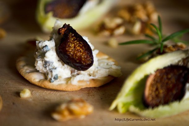 blue cheese spread on crackers with figs: This Blue Cheese Spread is super yummy and really easy to whip together, your guests will think you're a genius. Serve it with crackers, endive, figs, honey, whatever you can come up with! #appetizer #snack #easy https://lifecurrentsblog.com