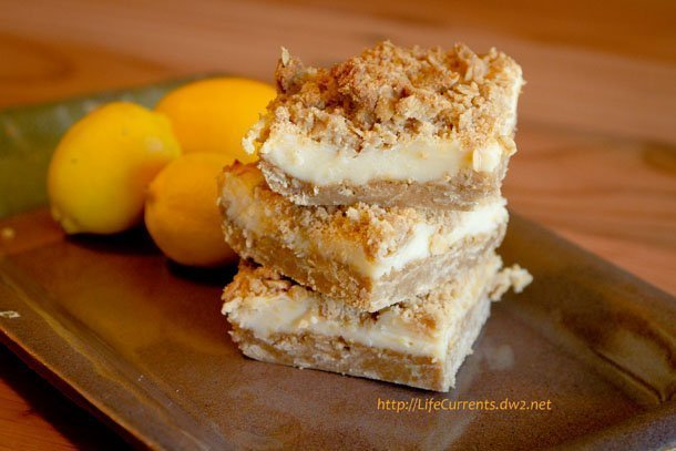 Oatmeal Lemon Crème Bars: perfect for Mother's Day!   Life Currents Mom loves oatmeal. And, she loves lemons. (She can't have any chocolate or coffee). So, these Oatmeal Lemon Crème Bars seemed perfect for her for Mother's Day brunch. https://lifecurrentsblog.com