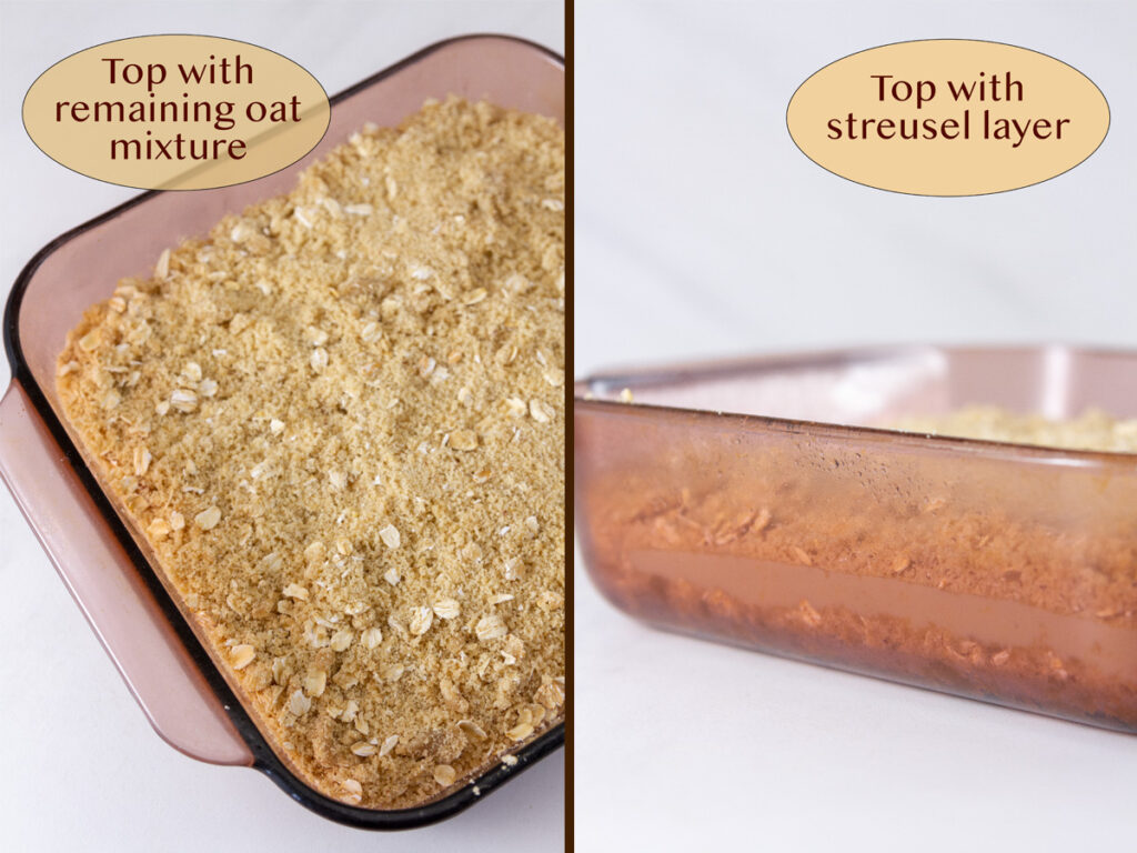 how to make lemon bars, pressing the crust into the pan, and lemon layer.