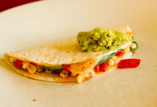 Avocado Reviews guacamole on veggie quesadillas
