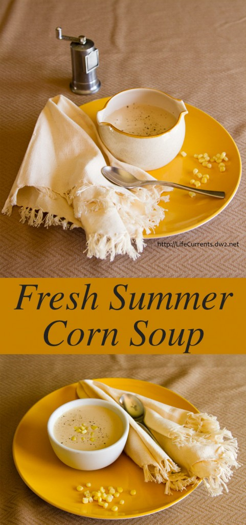 Fresh Summer Corn Soup long pin for Pinterest with two images and a title