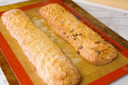 Almond Biscotti both logs have been baked and are cooling a bit before I cut them
