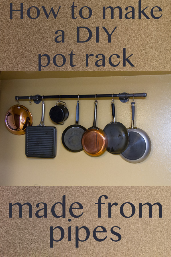 Title image with the potrack hanging from the wall with pots hanging from the rack