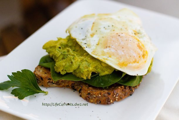 Open Faced Avocado Miso Toast with a Fried Egg