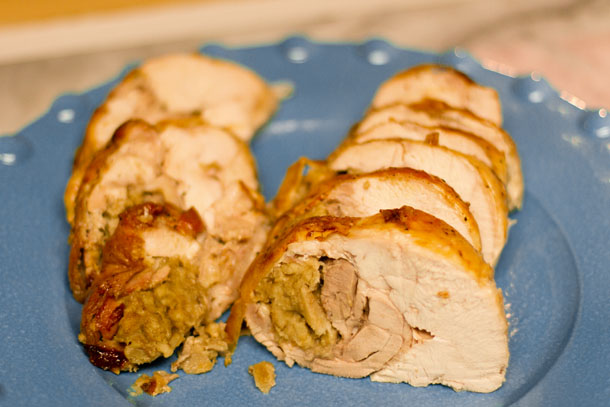 Rolled Turkey: each slice has white meat, dark meat, and stuffing in it