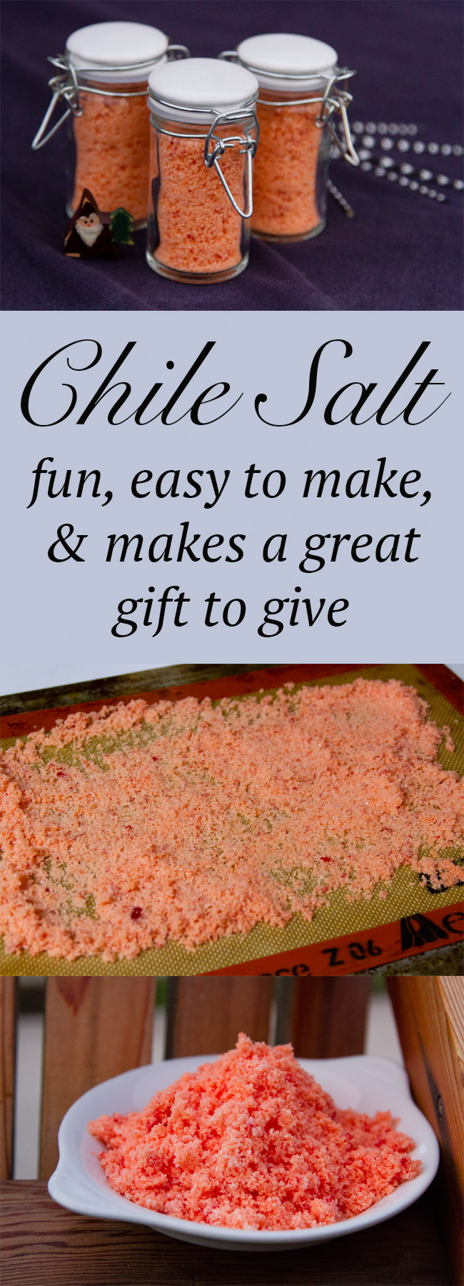 Pinterest long pin with three images for Chile Salt and the title in the middle