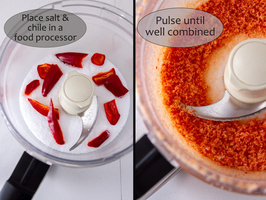 how to make chile salt: left:chiles and salt in a food processor, right: blended salt.