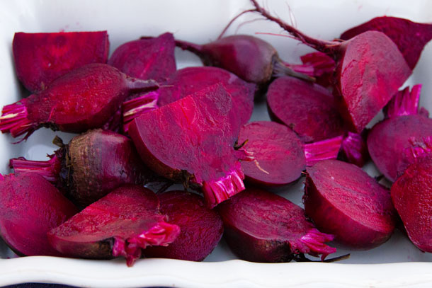 Prepared beets ready to go in the oven for roasting