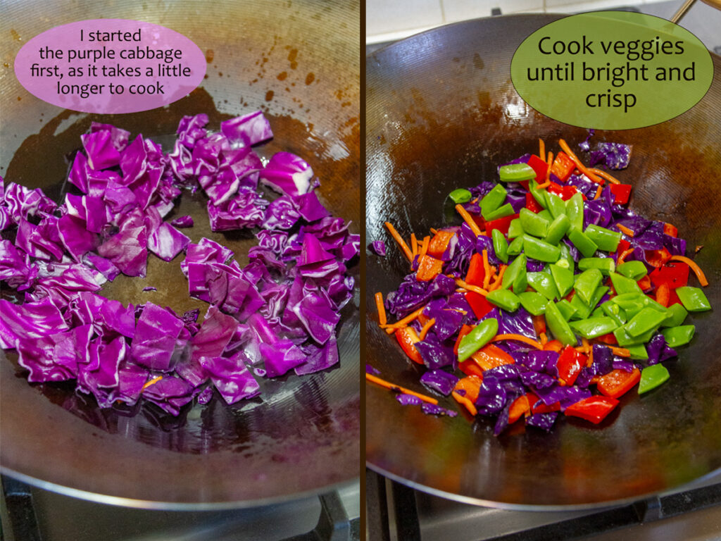 cooking purple cabbage on the left, other chopped veggies on the right.