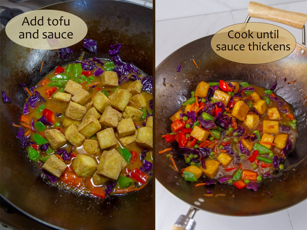 add in the tofu and sauce on left, and cook unti9l thickened on right.