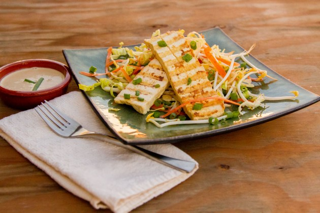 Tofu Satay with Peanut Dipping Sauce over Cabbage Slaw