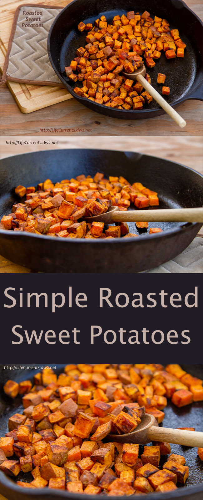 Roasted Sweet Potatoes are a perfect side dish - I find that roasting gives greater flavor and complexity to the food. The caramelization just brings out the toasty nuttiness and the yumminess.