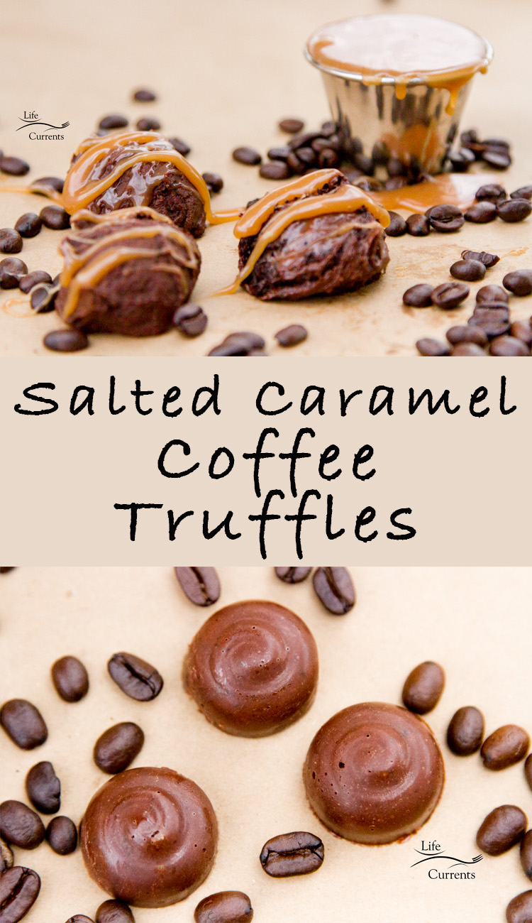 Salted Caramel Coffee Truffles long pin for Pinterest with two images and a title