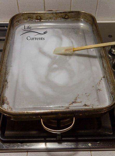 Homemade Pretzels - roasting pan with baking soda