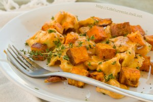 Cheese Tortellini in Pumpkin - Gorgonzola Sauce with Roasted Sweet Potatoes | Life Currents https://lifecurrentsblog.com