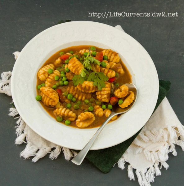 Vegetarian Gnocchi with Peruvian Seco Sauce  |  Life Currents  https://lifecurrentsblog.com  #meatlessMonday #Peruvian #sauce #gnocchi #potato