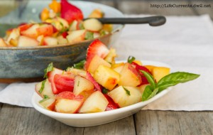 Peach, Nectarine, and Strawberry Fruit Salad with Lime Honey Basil Syrup https://lifecurrentsblog.com #fruit #salad #summer