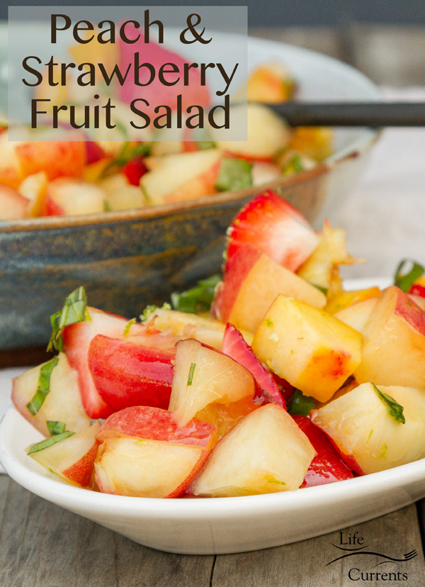 This Peach, Nectarine, and Strawberry Fruit Salad with Lime Honey Basil Syrup is delicious! A light summertime fruit salad with the pop of lime and basil, the sweetness of honey, and all those juicy summer fruits!