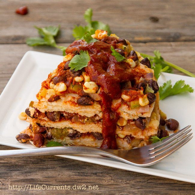 Stacked Veggie & Smoky Black Bean Enchiladas vegan, vegetarian, gluten-free, dairy free https://lifecurrentsblog.com
