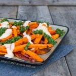 Sweet Potato Fries with Mac & Cheese Sauce and Chimichurri | Life Currents http://lifecurrentsblog.com