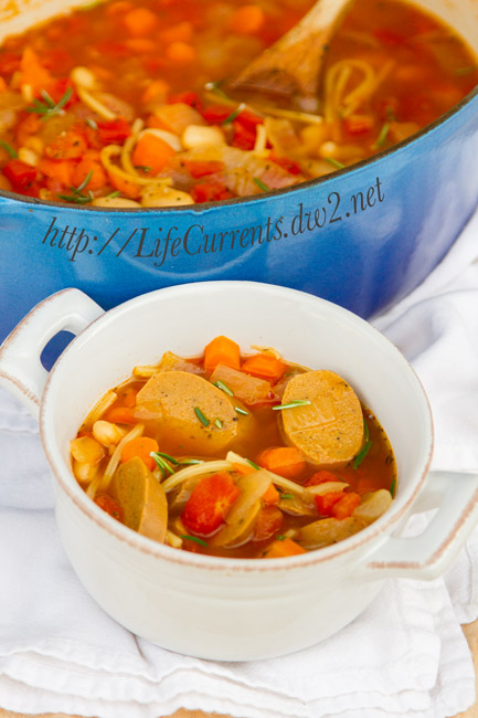 White Bean and Sausage Soup ... to please both the meat eater and the vegetarian in the house... https://lifecurrentsblog.com vegan gluten free