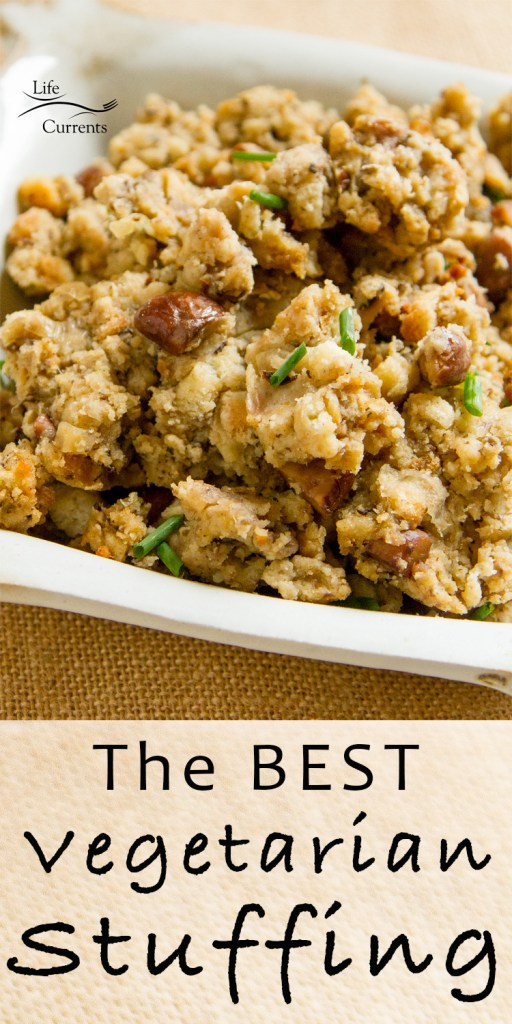 holiday stuffing in a serving dish with the title on image: The Best Vegetarian Stuffing