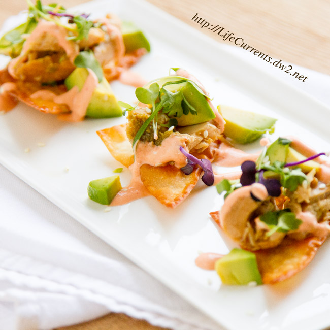 Island Jalapeno Albacore Tuna Poke on Baked Won Ton Wrappers by Life Currents