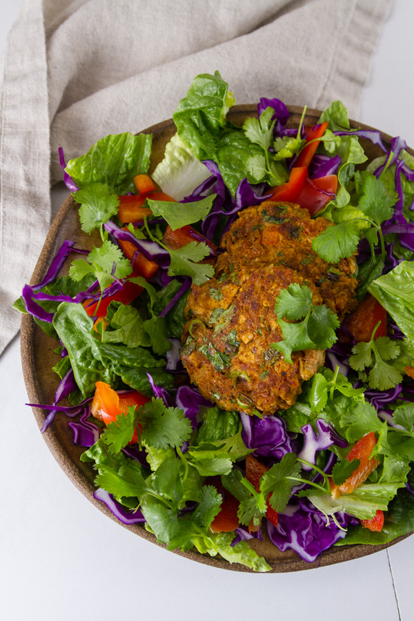 Falafel bowl with lots of greens and veggies.